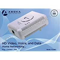 Asoka PlugLink ETH-200 Mbps HomePlug Powerline Ethernet Adapter - 9661