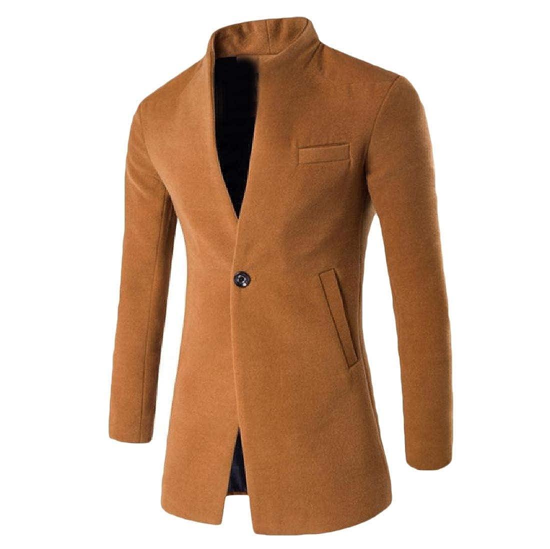 Khaki Vska Mens Wool 1 Button Topcoat Outwear Mandarin Collar Peacoat