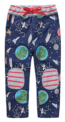 KIDSALON Little Boys Cotton Pants Drawstring Elastic Sweatpants (2T, Universe) -
