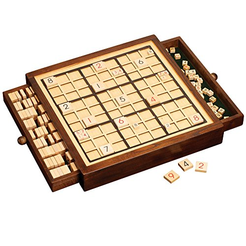 Deluxe Wooden Sudoku (Bits and Pieces - Deluxe Wooden Sudoku Game Board-Comes With Booklet of 100 Sudoku Puzzles - Four Different Puzzle Difficulties)