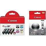 Canon CLI-221 Four-Color Ink Tank Pack + Canon PGI-220 Black Ink Tank