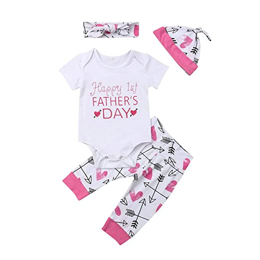 27bbb5985 4Pcs Newborn Infant Girl Clothes Happy 1st Fathers Day Outfit Baby  Onesie+Arrow Heart Pants