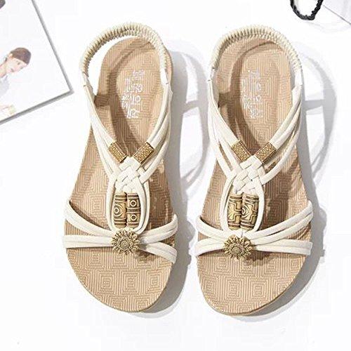 Sunyastor Women Sandals Summer Peep-Toe Roman Bohemia Beach Flip Flops Sandals Shoes Flip-Flop Sweet Beaded Sandals Beige by Sunyastor Shoes (Image #1)