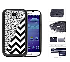 Black & White Floral Damask Pattern with Black/White Chevron Pattern Samsung Galaxy S4 i9500 (2-piece) Dual Layer High Impact Cell Phone Case