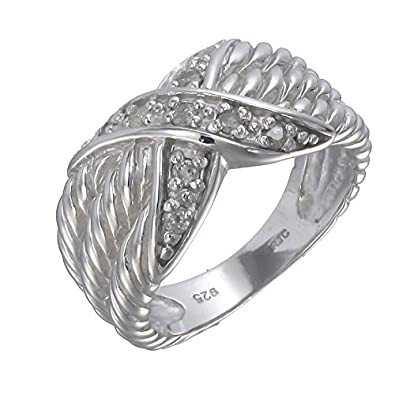 Sterling Silver Diamond Ring 0.15 CT
