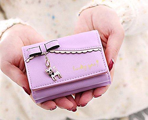 """UTO Mujer largo Wallet PU Cuero Clutch 5.5"""" Phone Case 12 Tarjeta Slots Holder Cremallera Pocket Cartera Baby Blue Morado Claro_A"""
