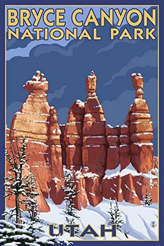 Bryce Canyon National Park #2 Winter (24x36 Giclee Gallery Print, Wall Decor Travel Poster)