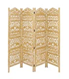Deco 79 96075 Wood Gold 4 Panel Screen, 80'' x 72''