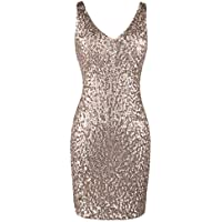 PrettyGuide Women's Sexy Deep V Neck Sequin Glitter Bodycon Stretchy Mini Party Dress