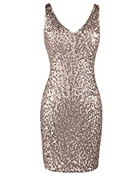 Deep V Neck Sequin Glitter Bodycon