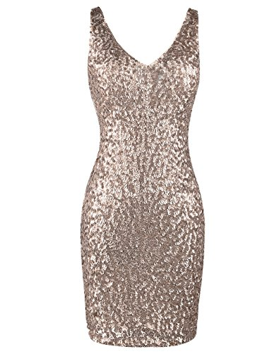 PrettyGuide Women Sexy Deep V Neck Sequin Glitter Bodycon Stretchy Mini Party Dress L Champagne