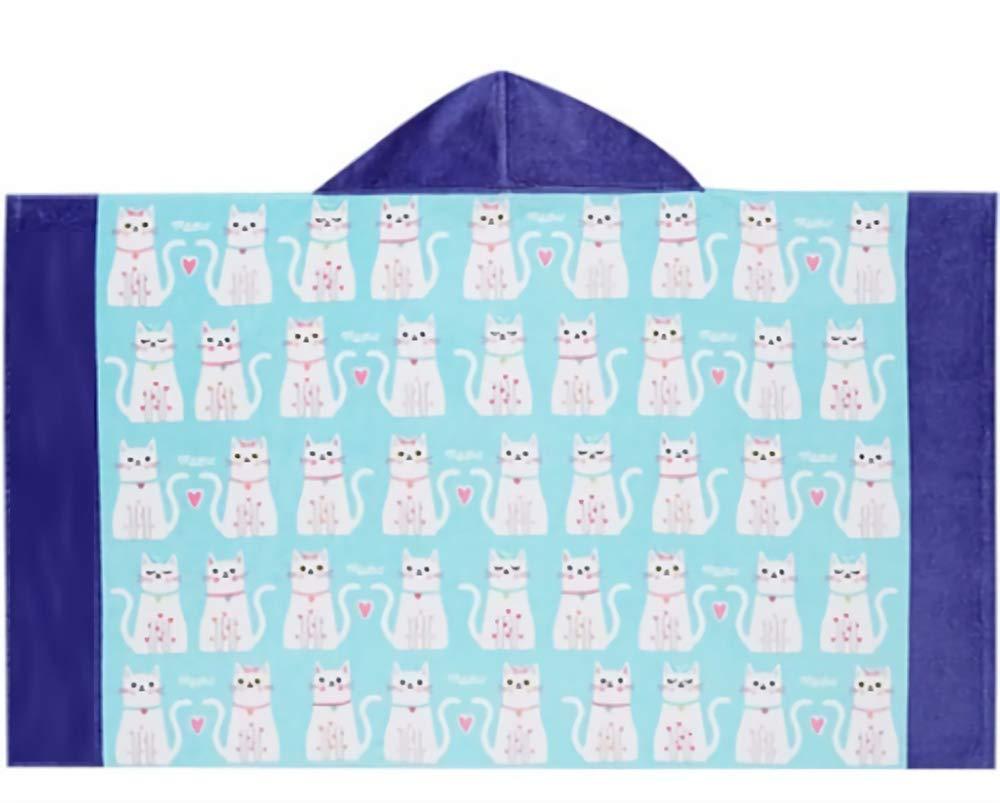 Azul muchos gatos, Talla /única Toalla para ni/ños con capucha Ba/ño de playa Toalla de ba/ño Ni/ñas Manta de Albornoz de Algod/ón Absorbente