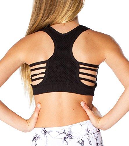 Malibu Sugar Girls (7-14) Side Line Sports Bra One Size Black