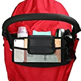 [YEAR-END CLEARANCE] Amzlen Baby Stroller Organizer | Universal Fit | Effortless to put on | Quality Product with FREE Stroller Hooks (Black) | Roomy Storage Spaces for Phones, Diapers, Toys, iPads