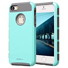 iphone 5s Case, iphone 5 Case, TPU + Pc Dual Layer Hybrid Fashion Shockproof Soft Hard Defender Case Cover for Apple iphone 5/5s (Mint green-grey)