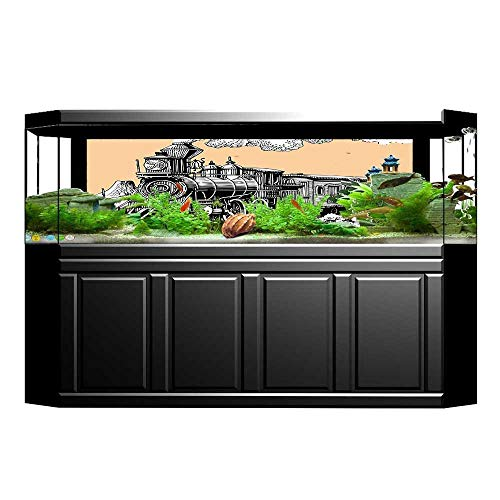 UHOO2018 Aquarium Sticker Vintage Wooden Train on Rails Wild West Wagon in Countryside Drawing Effect Artsy Fish Tank Backdrop Static Cling 35.4