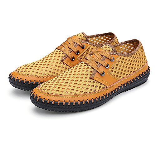 rismart Mens Lightweight Lace Up Summer Breathable Mesh Sport Shoes Yellow SN16605 US10 uE7DFr2Ut