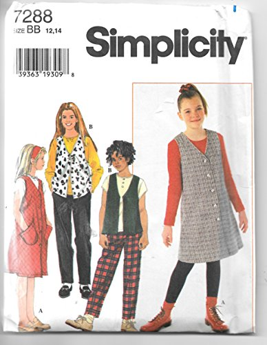 Simplicity 7288 Girls Jumper, Vest, Knit Top and Pants Sewing Pattern