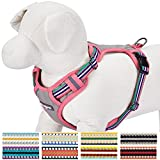 """Blueberry Pet 9 Colors Soft & Comfy 3M Reflective Multi-colored Stripe Padded Dog Harness Vest, Chest Girth 21""""-26"""", Neck 17.5""""-26"""", Pink, Emerald & Orchid, Medium, Mesh Harnesses for Dogs"""
