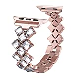 Secbolt Bling Bands for Apple Watch Band 42mm Luxury Stainless Steel Metal Bracelet Replacement Wristband Sport Strap for Iwatch Nike+, Series 3, Series 2, Series 1, Sport, Edition, Rose Gold