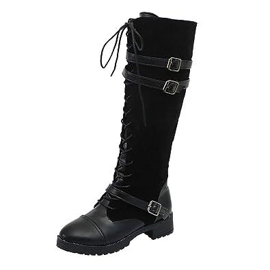 LHWY Damen Stiefel mit Absatz Frauen Schuhe Vintage Flock