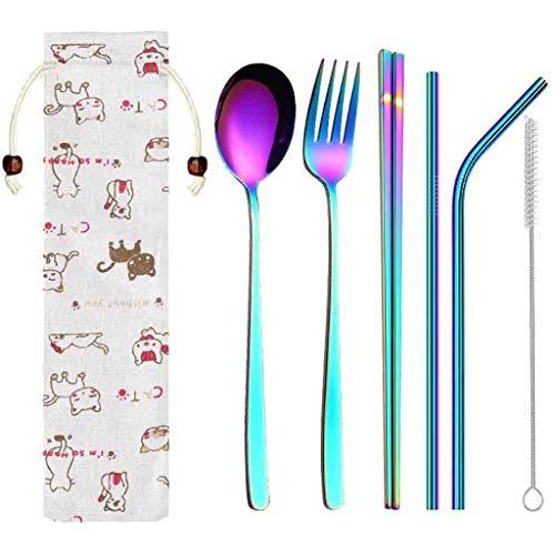 wuliLINL 6-Piece Silverware Cutlery Flatware Set, Stainless Steel Tableware Eating Utensils, Mirror Finish, Dishwasher Safe - Dish Mirror Finish No Tip