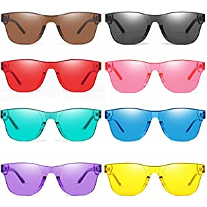 AOOFFIV One Piece Rimless Tinted Sunglasses Transparent Candy Color Wayfarer (8-pack)