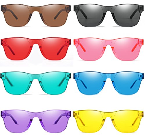 (AOOFFIV One Piece Rimless Tinted Sunglasses Transparent Candy Color Glasses)