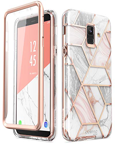 i-Blason Designed for Samsung Galaxy A6 Case, Cosmo Series Built-in Screen Protector Full-Body Glitter Sparkle Bumper Protective Case for Galaxy A6 (2018 Release) (Marble)