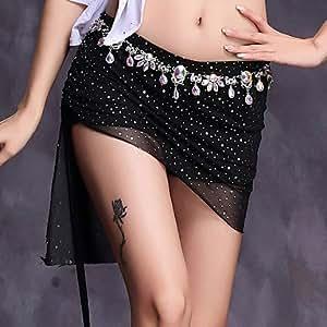 Belly Dance Bottoms Women's Performance Spandex Sequin 1 Piece Natural Skirt , l