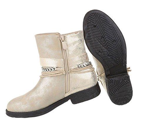 Damen Stiefeletten | Biker Boots Schnalle Kette | Knöchelhohe Stiefel Leder-Optik | Worker Boots | Blockabsatz Schuhe | Kurzschaft Stiefelette | Schuhcity24 Gold