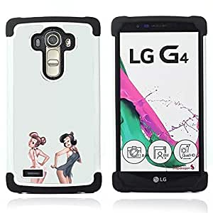 - sexy pinup girls white grey lingerie babe - - Doble capa caja de la armadura Defender FOR LG G4 H815 H810 F500L RetroCandy