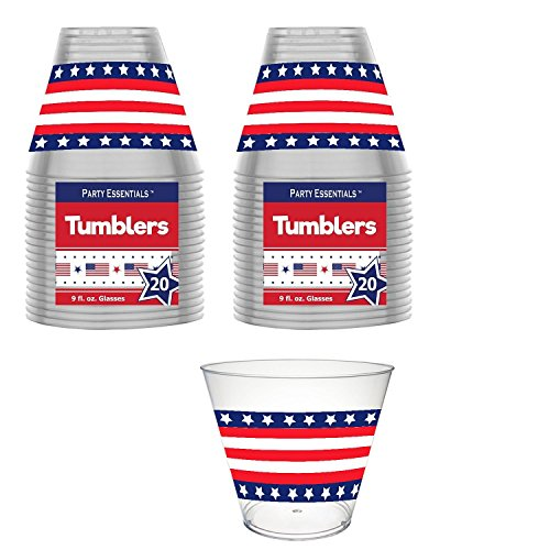 Labor Day Plastic Party Cups - 9 Ounce - Stars & Stripes Design - 40 CT