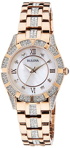 Bulova Women's 98L197 Swarovski Crystal Rose Gold Tone Bracelet Watch
