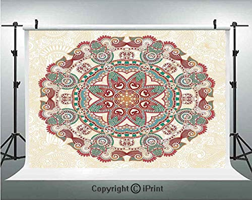 Mandala Photography Backdrops Oriental Mandala Figure Vintage Style Boho Art Geometric Forms Pattern Image,Birthday Party Background Customized Microfiber Photo Studio Props,10x10ft,Red Cream Green
