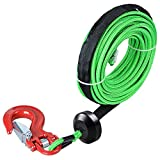 1/4'' x 50' 7000+ LBs Green Synthetic Cable Rope Rock Guard Sheath + Red Half-Link Clevis Safety Latch Winch Hook + Rubber Stopper ATV UTV SUV Off-Road Ramsey
