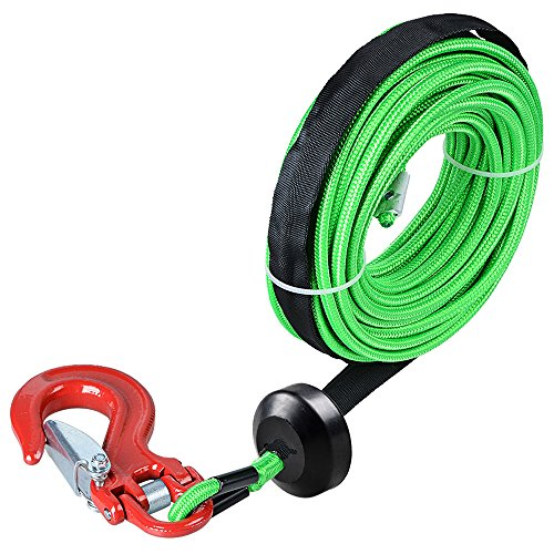 Astra Depot 50' x 1/4 Green 7000lbs Strong Synthetic Winch Rope Rock and All Heat Guard + Rubber Stopper + Red Heavy Duty Half-Linked Hook for Truck ATV UTV KFI
