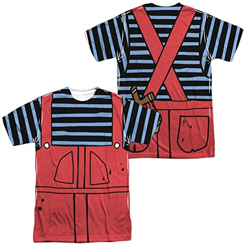 Dennis And Gnasher Costume (Dennis The Menace- Dennis Costume Tee (Front/Back) T-Shirt Size L)