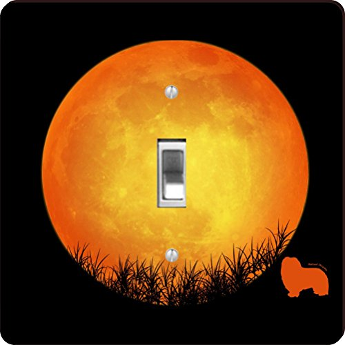 -41324 Shetland Sheepdog Dog Silhouette By Moon Design Light Switch Plate Cover ()