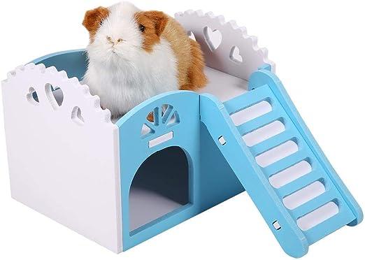 HEEPDD Casa de hámster de Madera, con Escalera Mascotas Casa Ocio Juguetes de Ejercicio para Ardillas Gerbils Hamsters Golden Bears Pequeños Animales (Blue): Amazon.es: Productos para mascotas