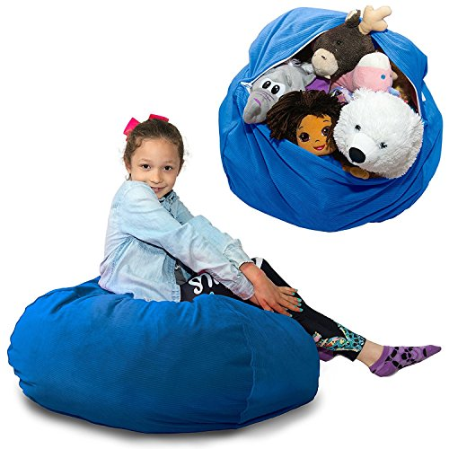LARGE SUPER SOFT Stuffed Animal Storage Bean Bag Chair - COMFY Fabric Kids Prefer to Sit On Instead of Stiff Canvas Bags - Replace Your Mesh Toy Hammock or Net - Store Extra Blankets & Pillows Too
