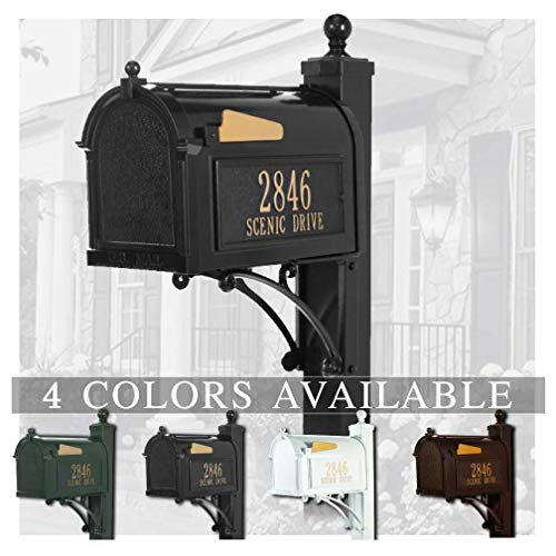 Personalized Wall Mounted Mailbox Package - Personalized Whitehall Capitol Mailbox with Side Address Plaques & Post Package (4 Colors Available)