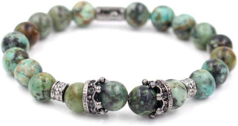 Magssdy Pulsera Cubic Zirconia Gold King Crown Charm Bracelet Pulsera de Perlas de Piedra Howlite Africana para hombrespulsera Hombres