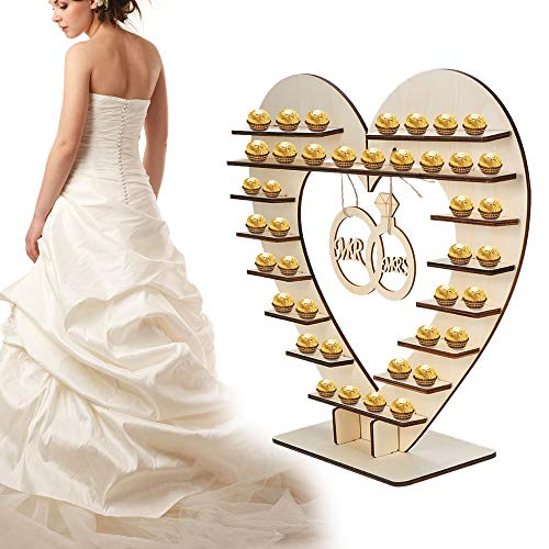 PatyHoll Wedding Table Decoration Wooden Mr & Mrs Heart Sign Chocolate Stand Display Candy Cupcake Desserts Ornament Decorations ()