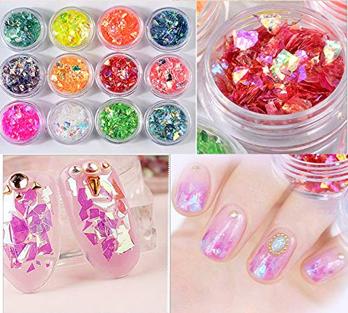 GBSTORE 12 Boxes/Set Nail Sequins Colorful Nail Rhinestones Studs Nail Glitter Sticker Decals 3D Nail Art Design, for…