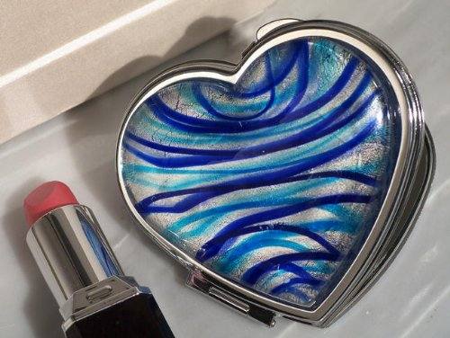 Personalized Heart Mirror Compact (Murano Art Deco Heart Compact Mirror Silver And Blue Colored)