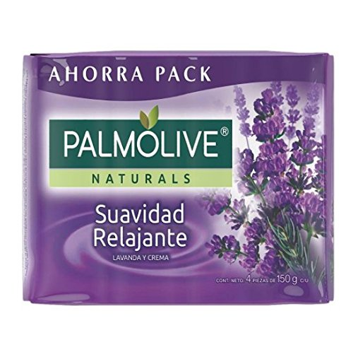 Jabon Palmolive Naturals Suavidad Relajante 4 Pack 150 g / 5.29 oz Soap Bars lavender and cream Classic Bathing Natural Mexican smooth soothing gentle scent foaming shower bath choose lavanda -