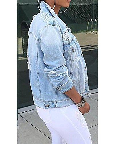 Chic Manica Moda Invernali Cappotti Cowboy Strappati Slim Lunga Cute Fit Casual Autunno Forti Giacche Vintage Giubbotto Outerwear Jeans Taglie Elegante Revers Giacca Blu Donna UCwSOqzC