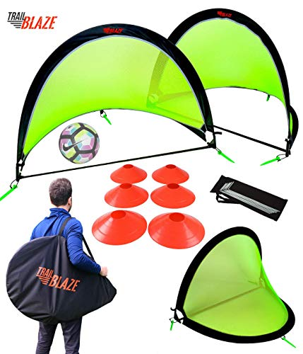 Trailblaze Pop Up Soccer Goal Set - 2 Portable Soccer Nets, 8 Disc Cones + Carry Case - Ideal Soccer Training Equipment for Kids, Teens, Adults
