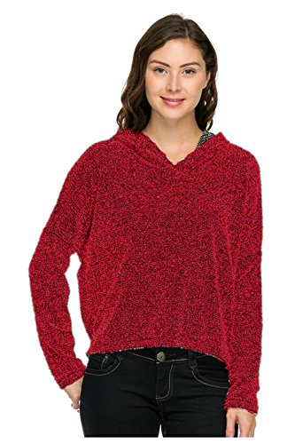 G2 Chic Women's Long Sleeve Loose Fit Pullover Hoodie(OW-JKT,RED-M)